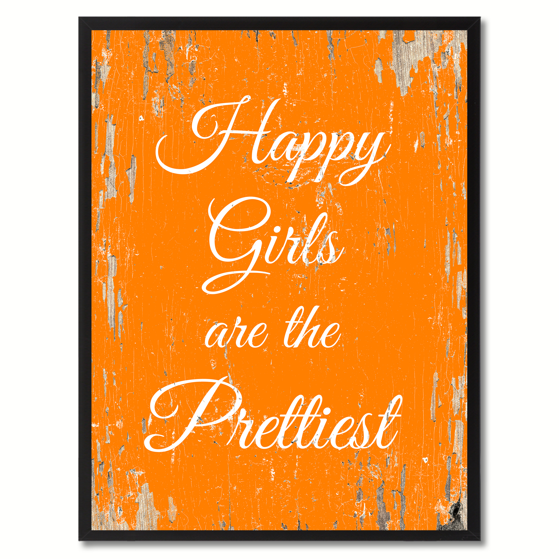 "Happy Girls Are The Prettiest Saying Canvas Print with Picture Frame Home Decor Wall Art Gifts - 7"" x 9\"""