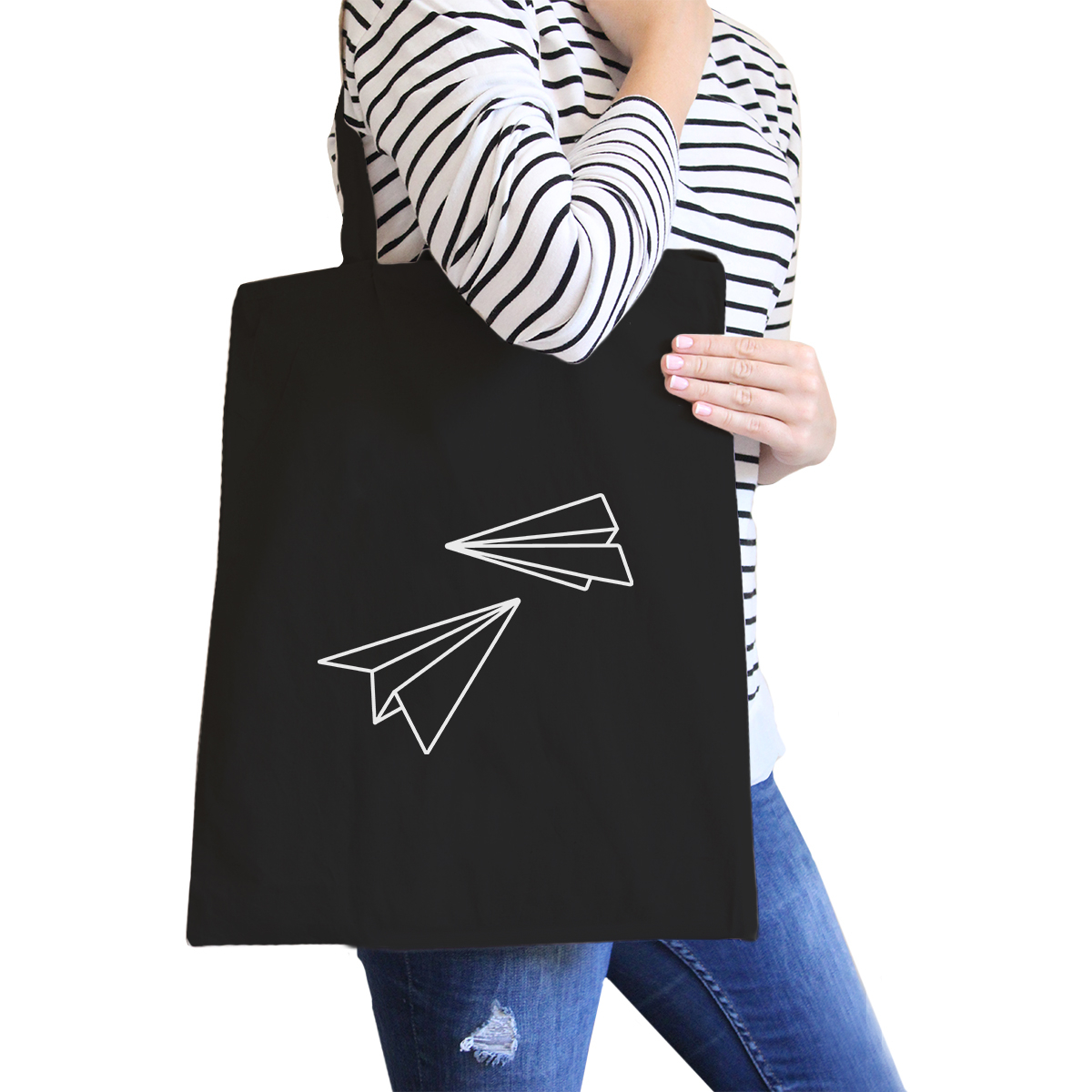 365 Printing Paper Airplane Black Canvas Bag Gifts Ideas For BFF Tote (JCB051) photo