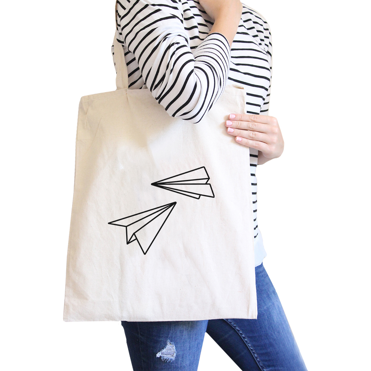 365 Printing Paper Airplane Natural Canvas Bag Cute Graphic Printed Eco (JCB027) photo