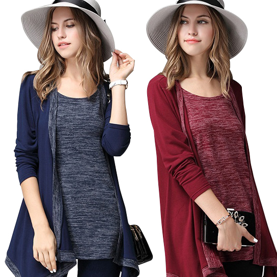 What A Pair Top And Cardi Combo In Plus Sizes Too - Pomegranate Red, Med- Large 582cf0701a2f72103d44b1f7