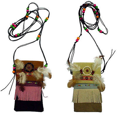 2 LEATHER BEADED POUCH W DREAM CATCHER necklace purse (SKU_331629375695) photo