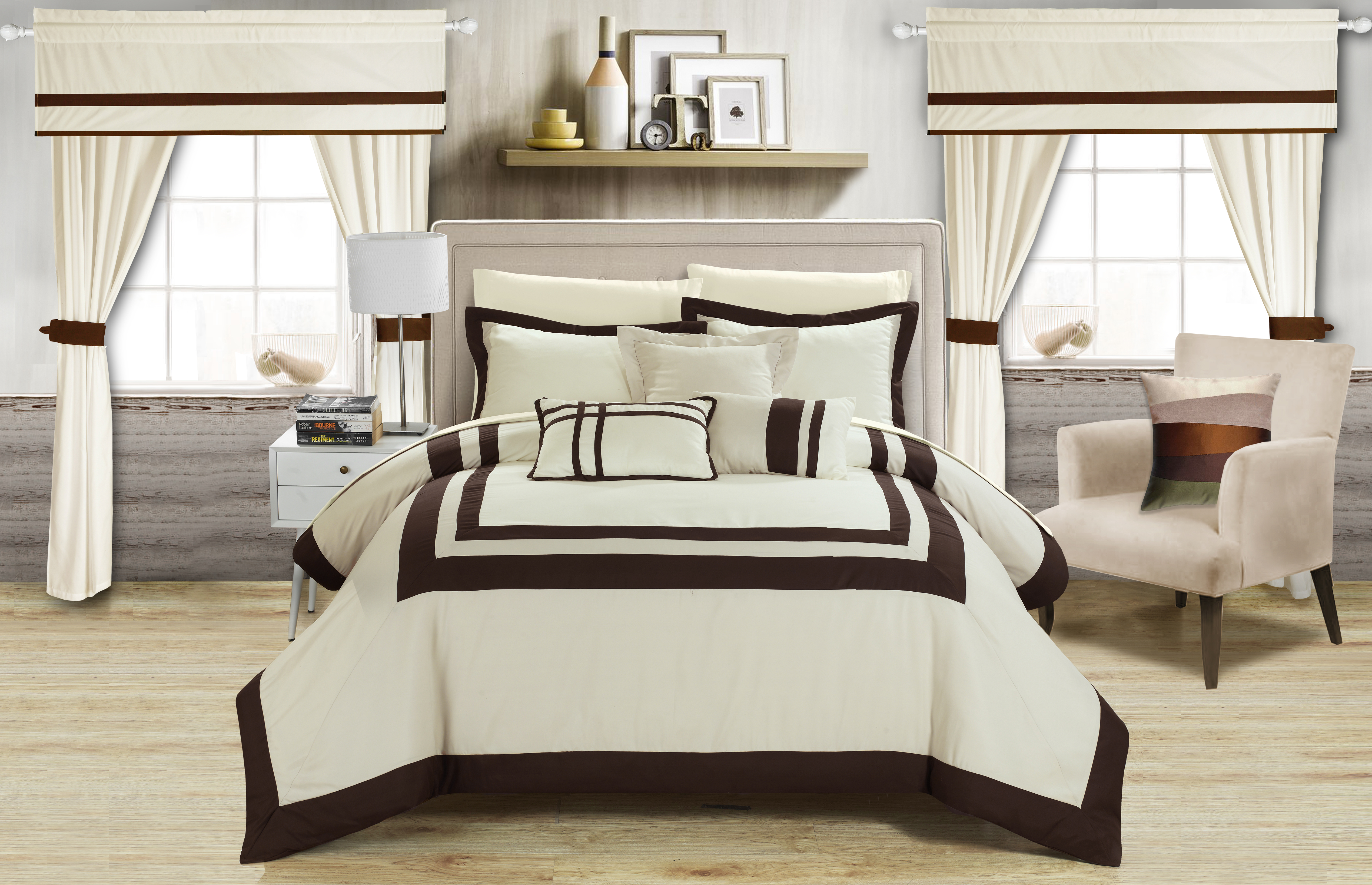 Chic Home 20 Piece Bertran Pieced Color Blocked Complete Master Bedroom Ensemble Includes Comforter Set - King, Beige