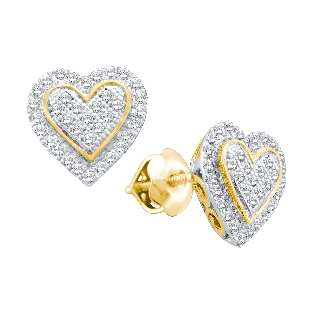 10kt Yellow Gold Round Diamond Heart Love Cluster 2-tone Fashion Earrings (.25 cttw.)
