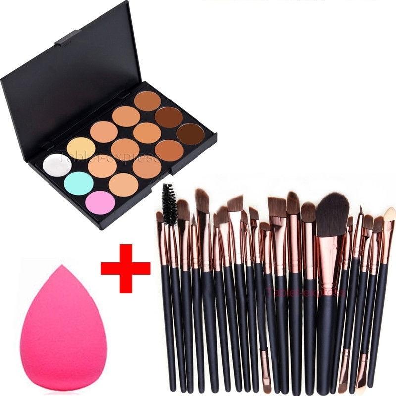 MakeUp Tools 15 Colors Contour Face Cream Makeup Concealer Palette Professional + 20 Brush 5886f8fcdb2cdc475c517d60