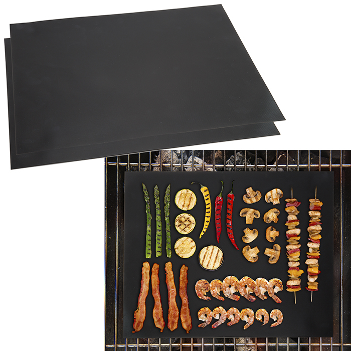 Set of 2 Non-Stick Reusable BBQ Grill Mat 16 x 13 Inches Vegetables Meat Mats for Grill Grates