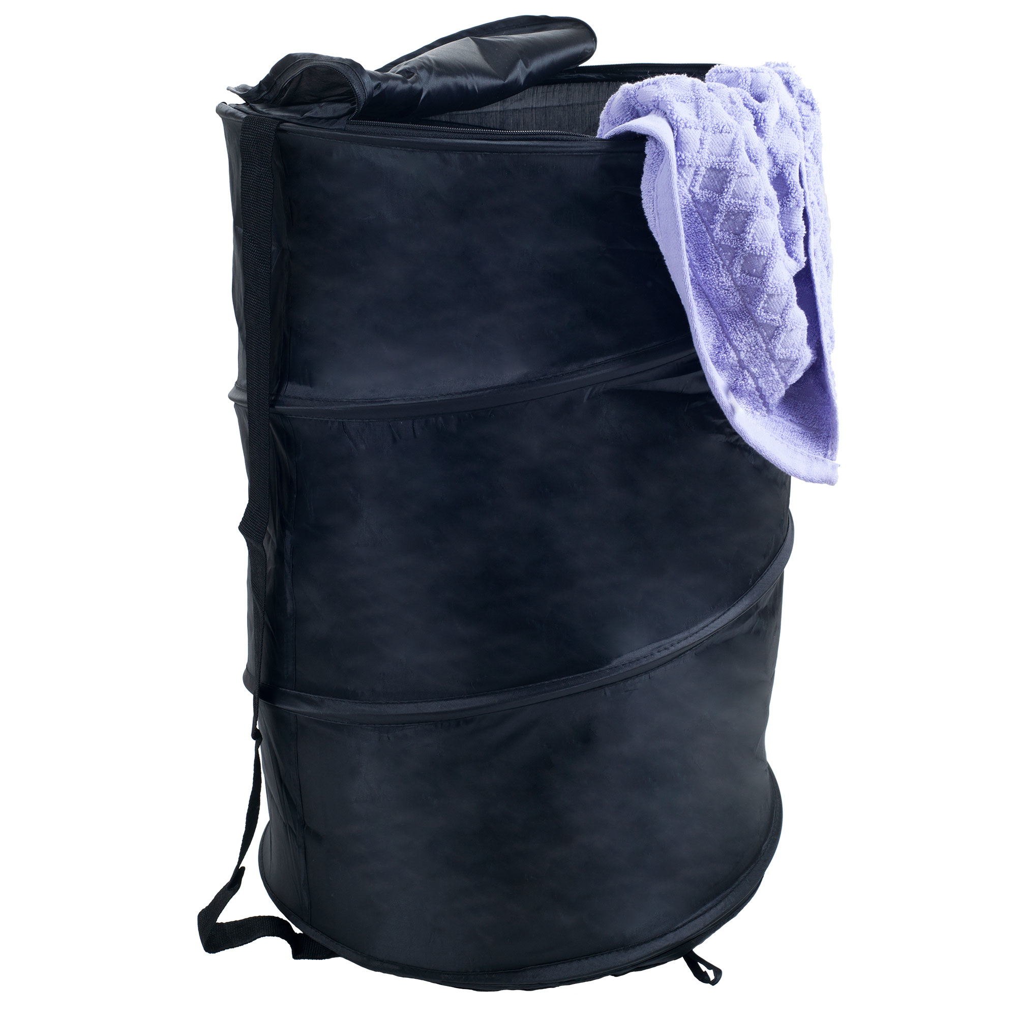 Pop Up Laundry Hamper-Collapsible Nylon Bag with Carrying Straps and Zipper for Dorm, Apartment