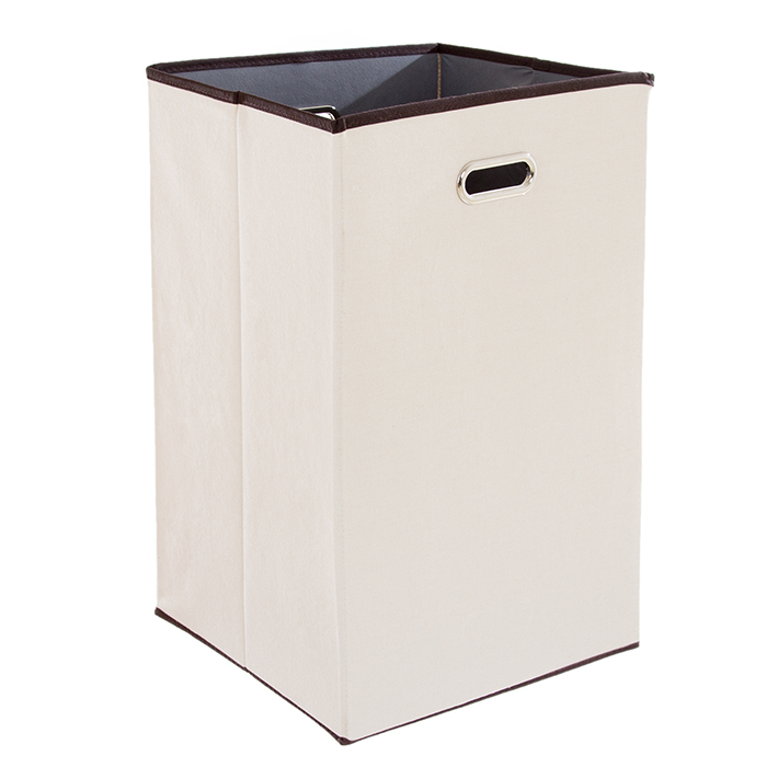 Lavish Home Folding 23 Inch Canvas Laundry Hamper - Beige 588a2d2ac98fc446c9281852