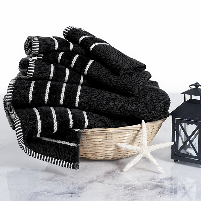 Lavish Home 100% Cotton Rice Weave 6 Piece Towel Set - Black 588a2d2bc98fc446cc55346e