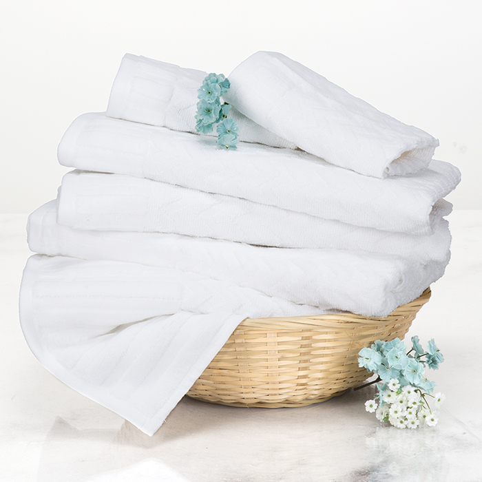 Lavish Home Chevron 100% Cotton 6 Piece Towel Set - White 588a2d2cc98fc446c85a370a