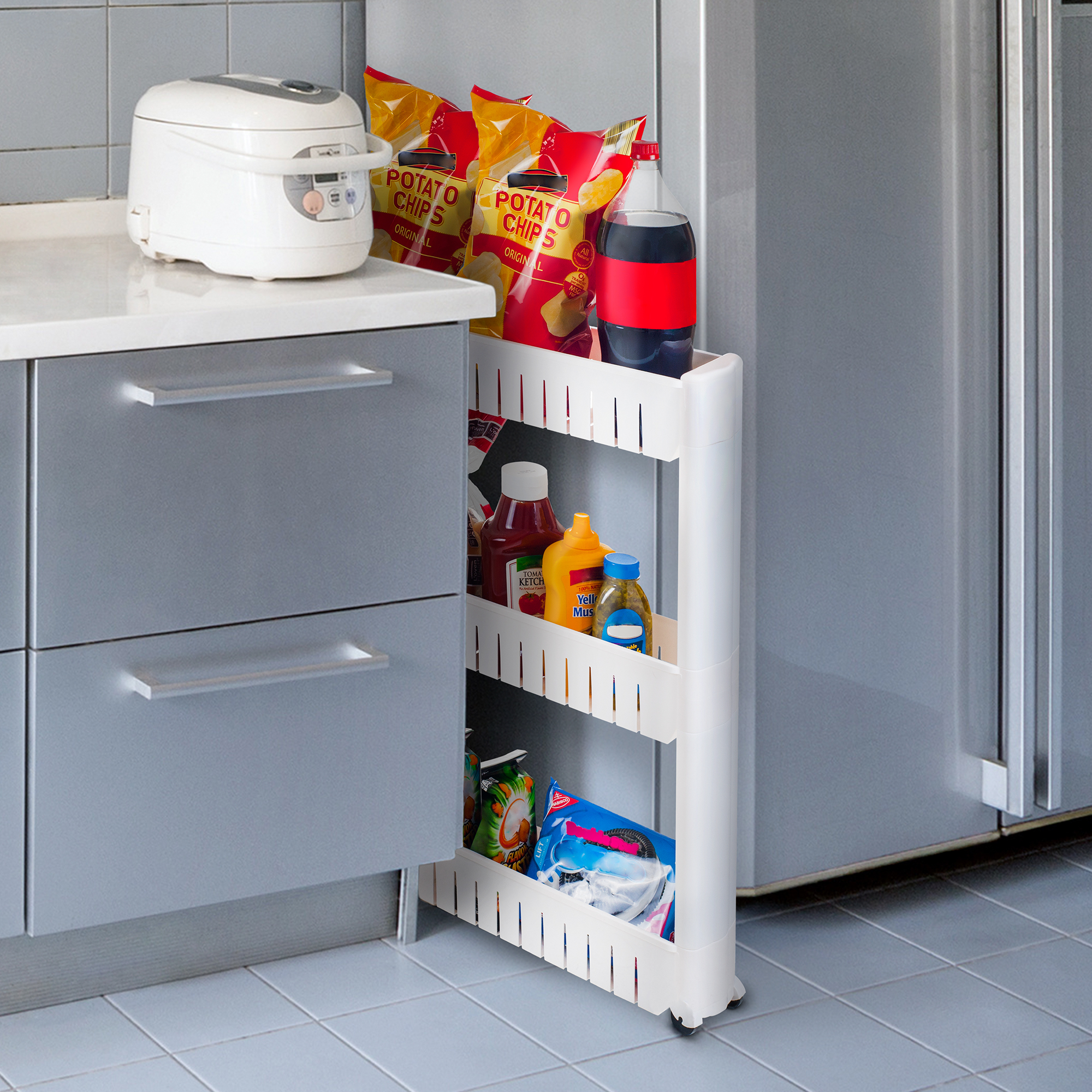 Three Tier Slim Slide Out Pantry on Rollers 5 Inch Wide Hide A Rack