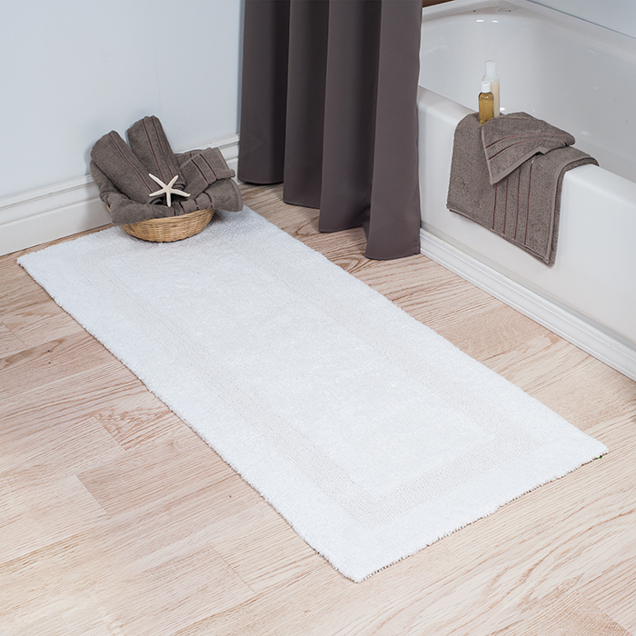 Lavish Home 100% Cotton Reversible Long Bath Rug - White - 24x60