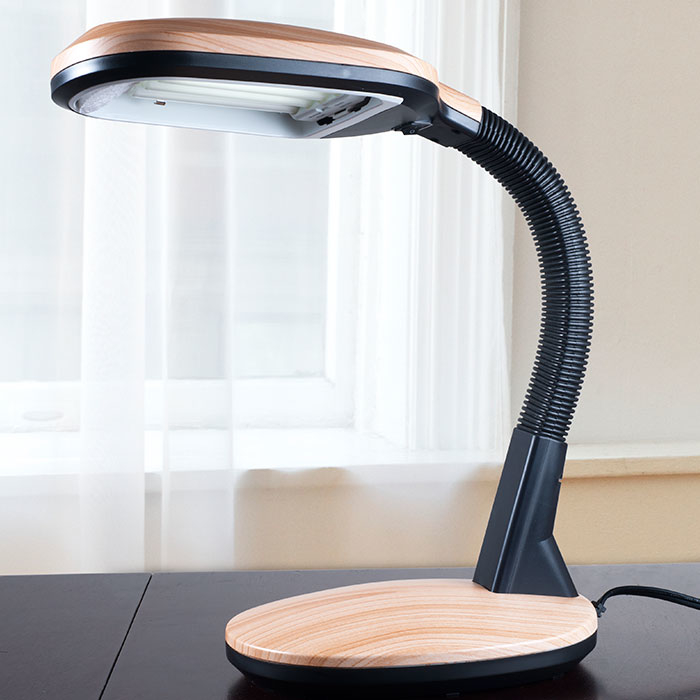Lavish Home Light Wood Grain Sunlight Desk Lamp