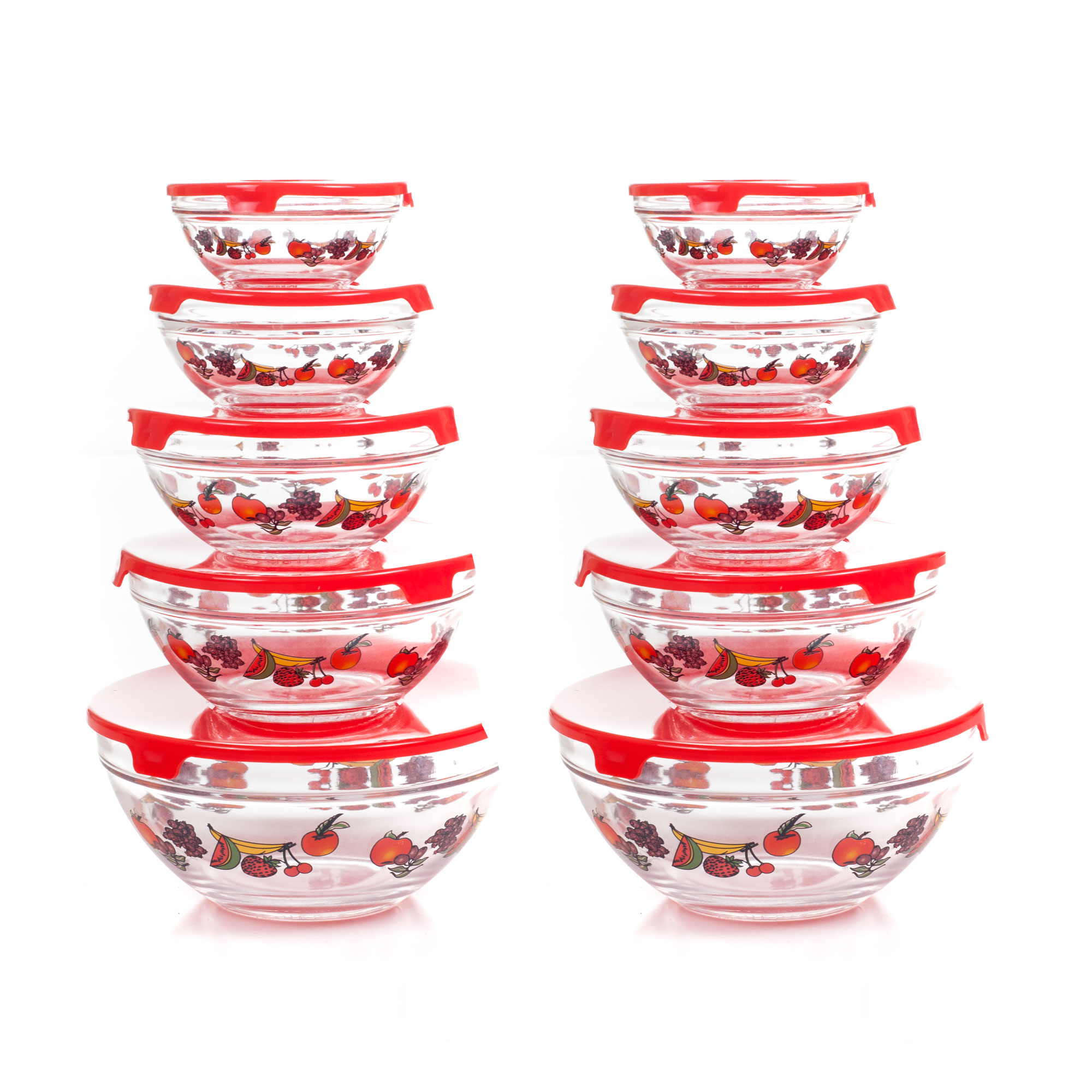 20 Piece Glass Bowl Set with Lids 10 Bowls w Lids Food Storage Bowls Fruit Design 5 Sizes
