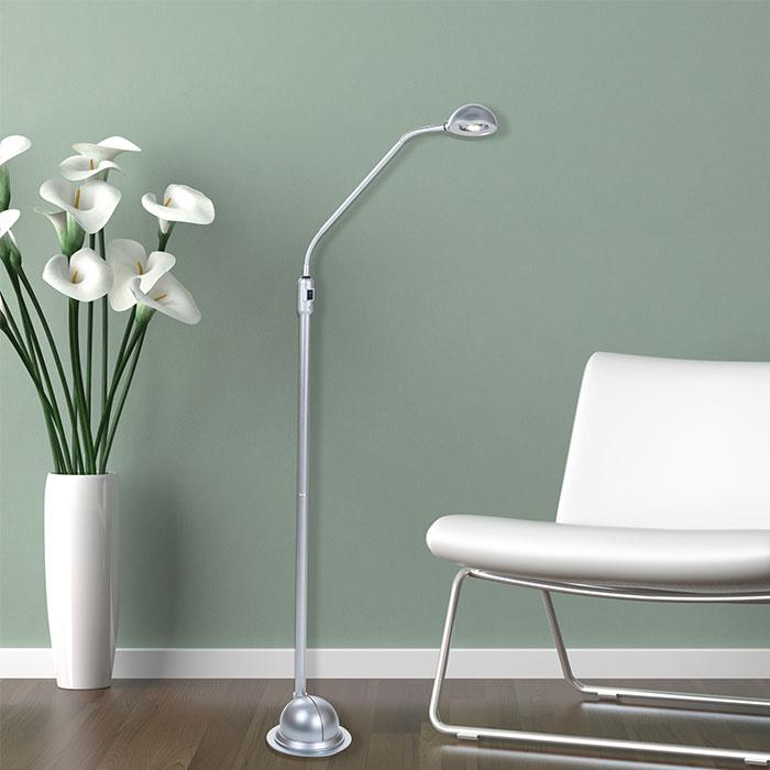 Lavish Home Modern High Power 5 Foot LED Floor Lamp - Silver