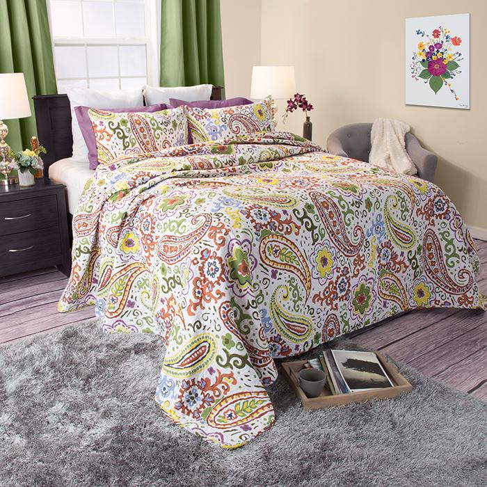 Lavish Home Trista 3 Piece Cotton Quilt Set - King
