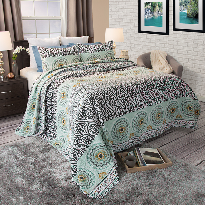 Lavish Home Muna 3 Piece Cotton Quilt Set - King 588a2d36c98fc446c744d196
