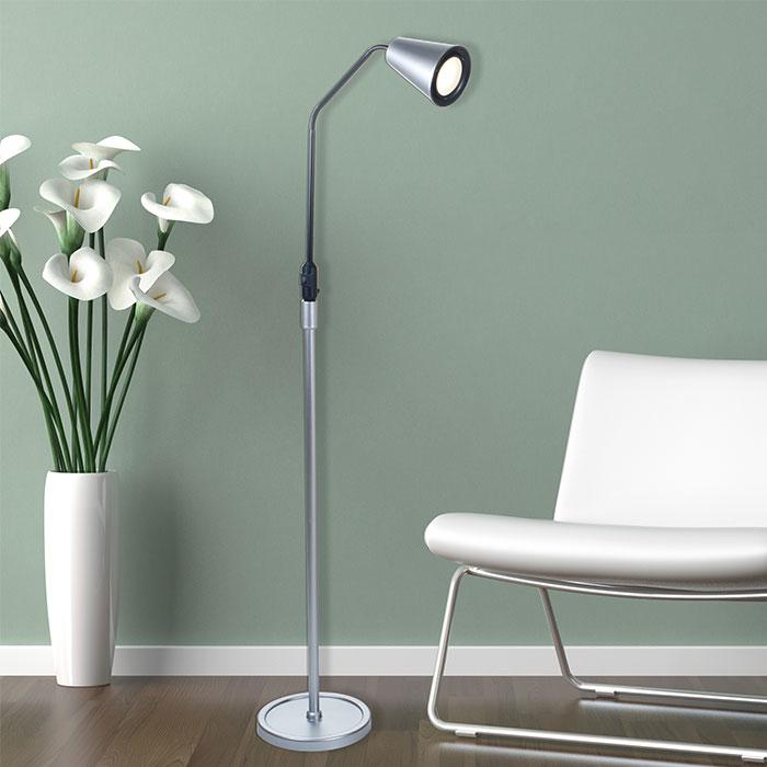 Lavish Home 5 foot LED Flexible Adjustable Floor Lamp - Silver