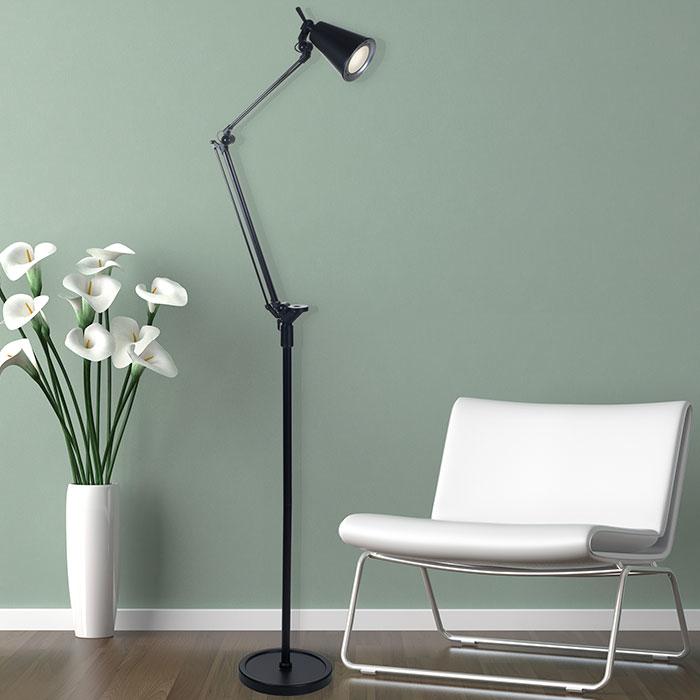 Lavish Home 6 Foot LED Adjustable Floor Lamp - Black