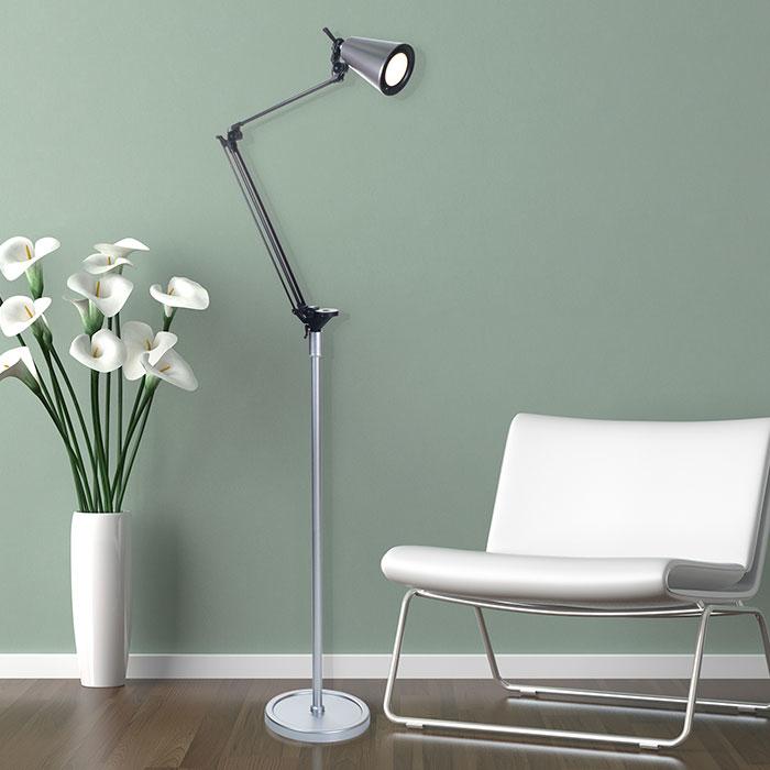 Lavish Home 6 Foot LED Adjustable Floor Lamp - Silver