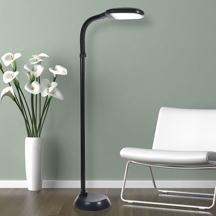 LED Natural Full Spectrum Sunlight Therapy Reading and Crafting Floor Lamp with Dimmer Switch by Lavish Home - Adjustable Gooseneck