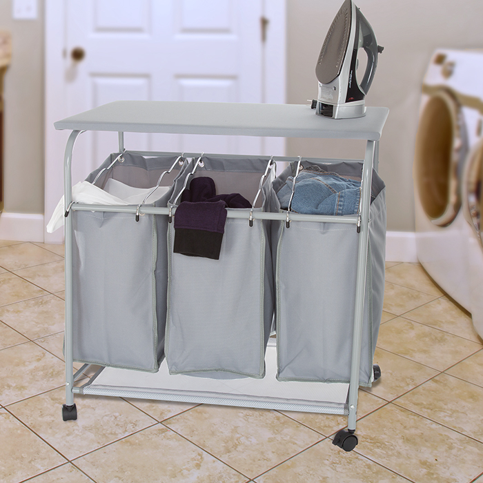 Lavish Home Rolling 3 Bin Laundry Sorter and Ironing Station - Gray 588a2d3ac98fc446c85a39e3