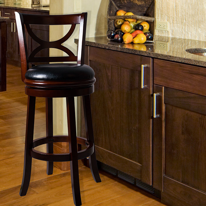 Lavish Home Swivel Wood Bar Stool with Back - Dark Wood Finish