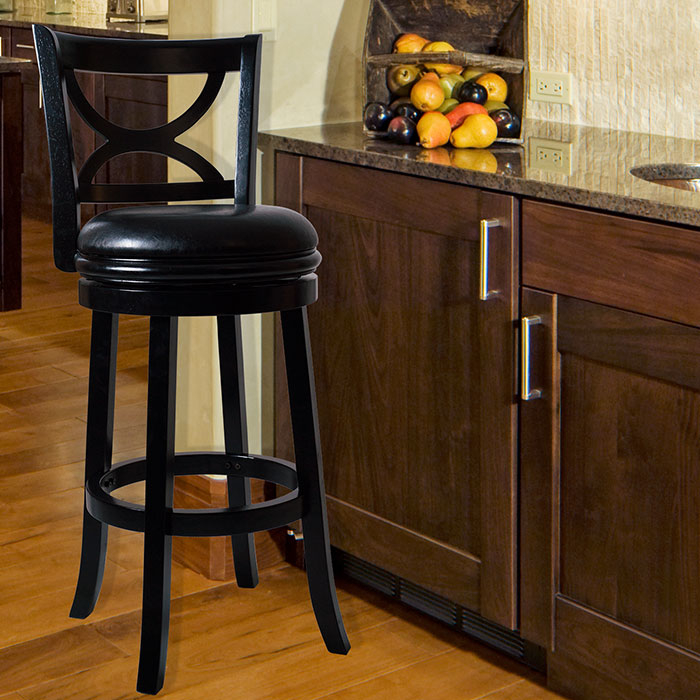 Lavish Home Swivel Wood Bar Stool with Back - Black