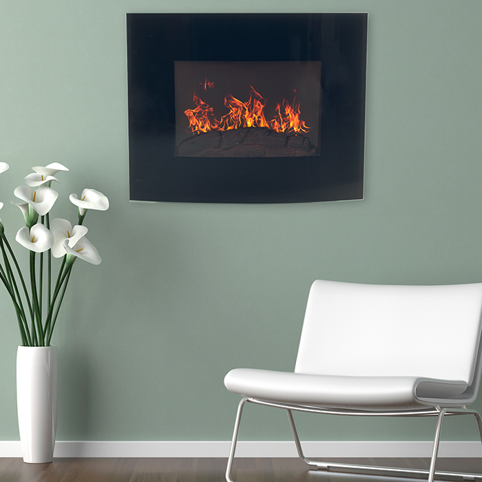 Curved Glass Electric Fireplace Wall Mount Remote Northwest