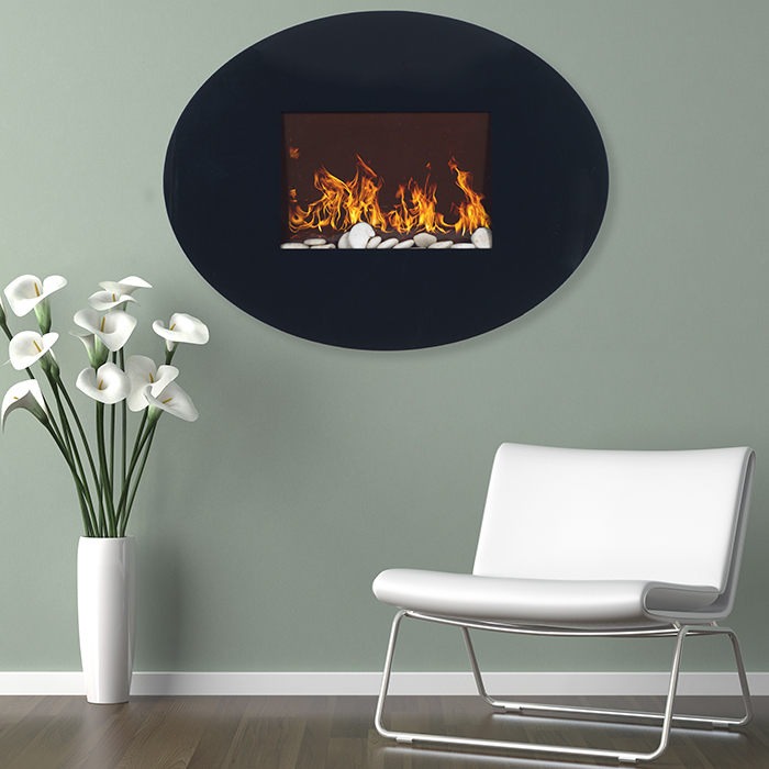 Oval Glass Electric Fireplace Wall Mount Northwest
