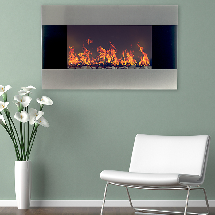 Stainless Steel Electric Fireplace Wall Mount Remote Northwest