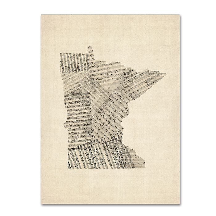 Michael Tompsett 'Old Sheet Music Map of Minnesota' 14 x 19 Canvas Art