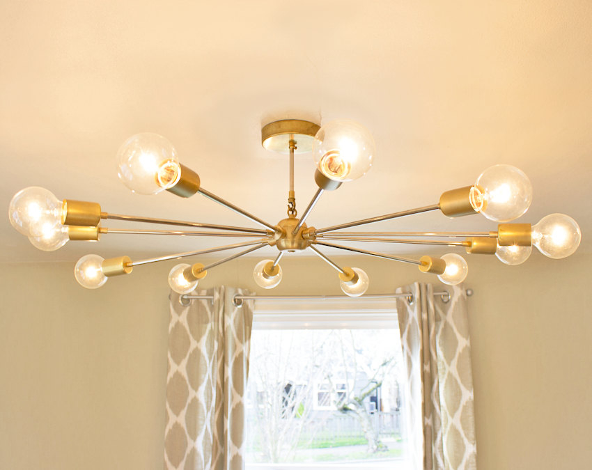 Speakeasy Lamps Modern Brass Sputnik Chandelier Flat Config Only Large
