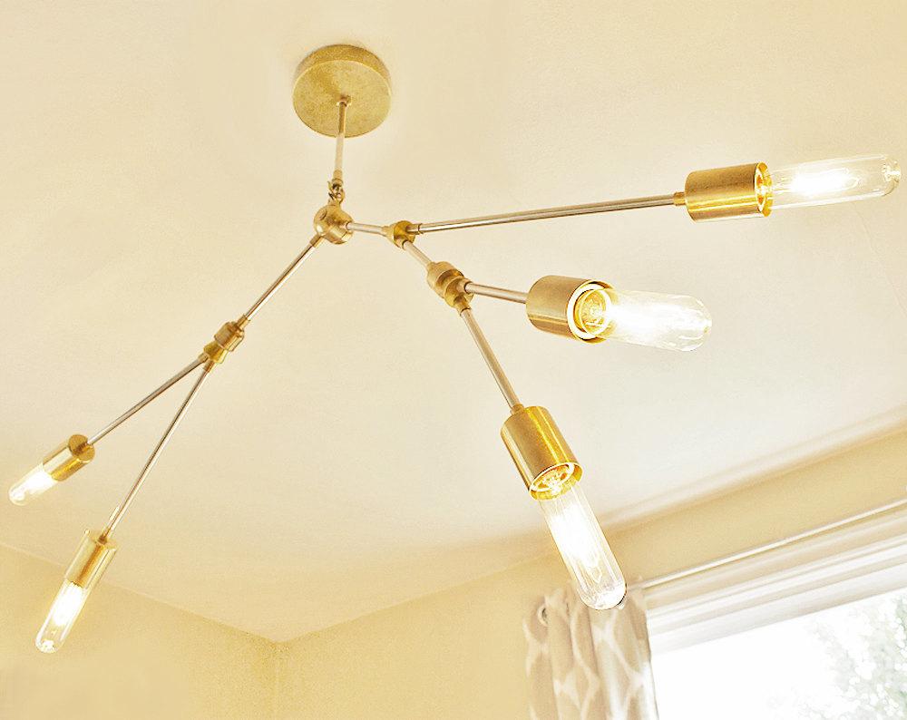 Speakeasy Modern Brass Chandelier Branching Product Photo