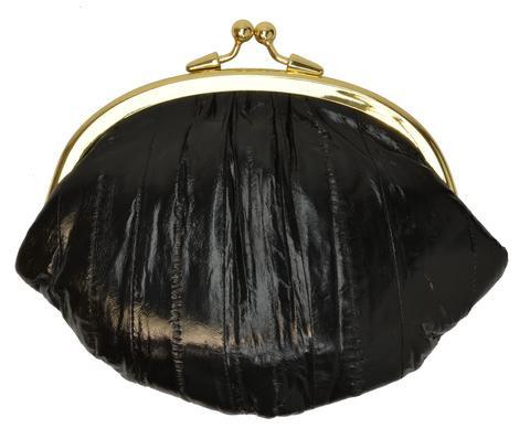 Eel skin coin/change purse with metal clasp Big Black (E10BIGBK) photo