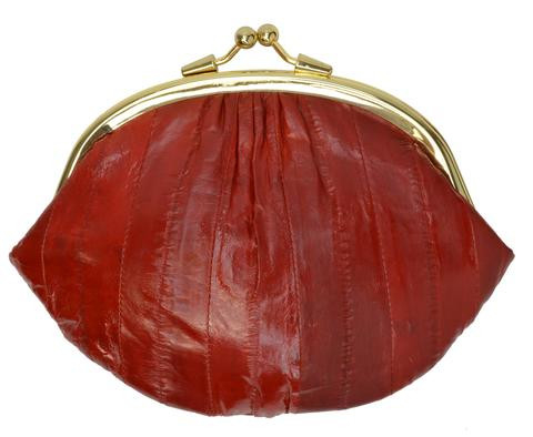 Eel skin coin/change purse with metal clasp Big Red (E10BIGRD) photo