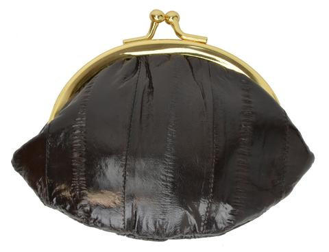 Eel skin coin/change purse with metal clasp Small Brown (E10SMBR) photo