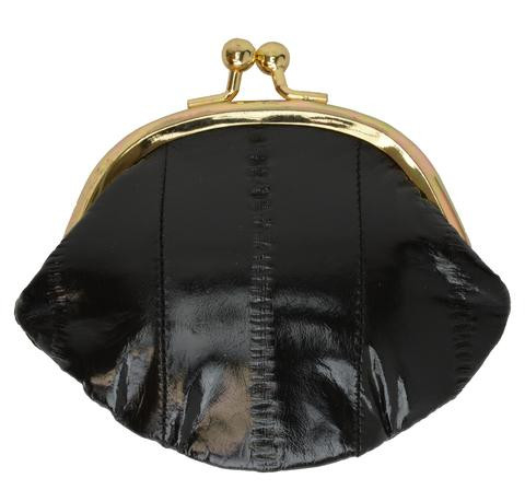 Eel skin coin/change purse with metal clasp Small Black (E10SMBK) photo