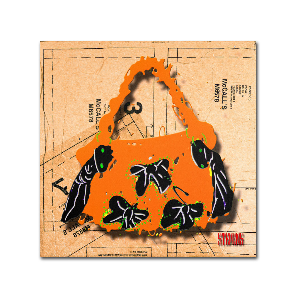 Roderick Stevens 'Bow Purse Black on Orange' Canvas Wall Art 14 x 14 (RS937-C1414GG) photo