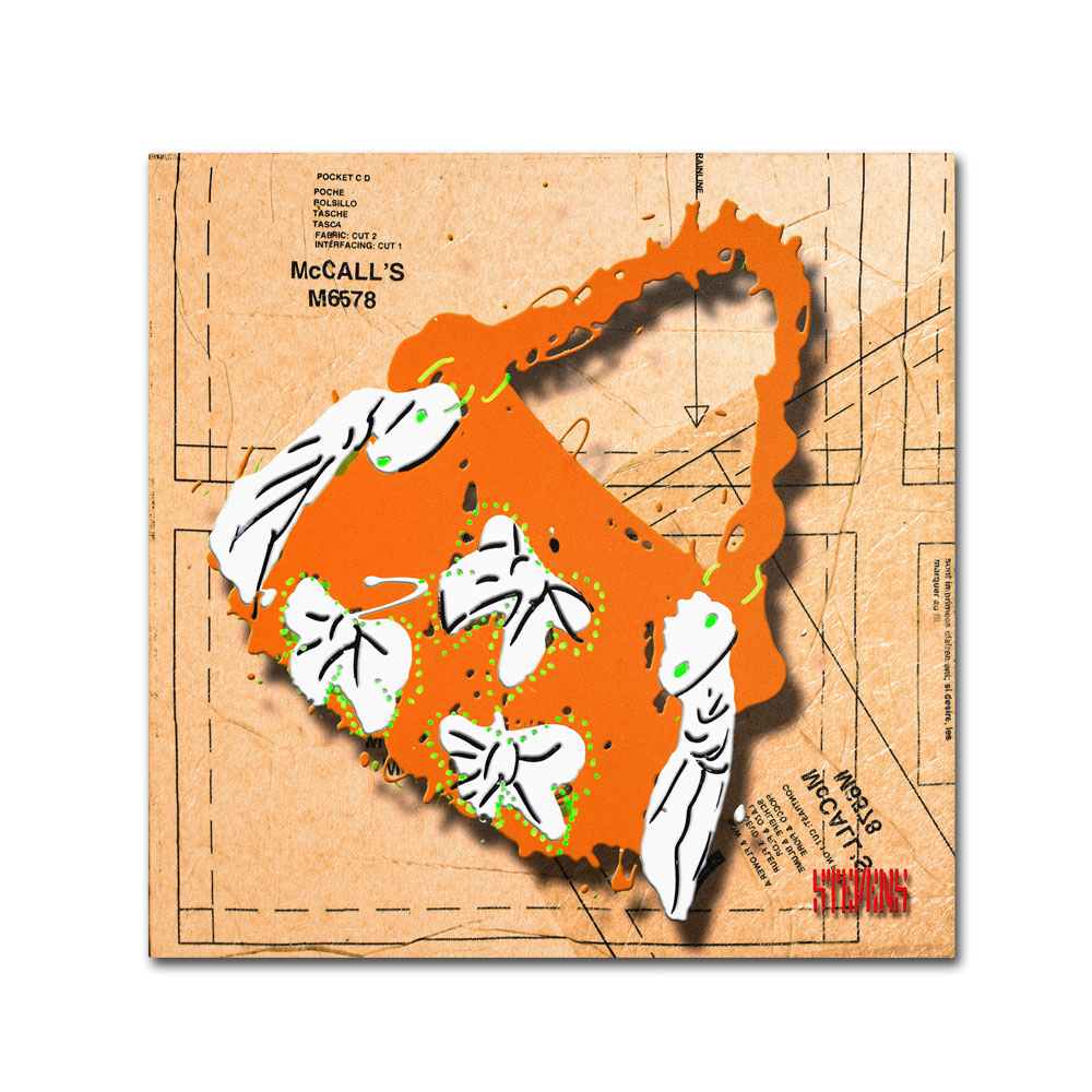 Roderick Stevens 'Bow Purse White on Orange' Canvas Wall Art 14 x 14 (RS940-C1414GG) photo