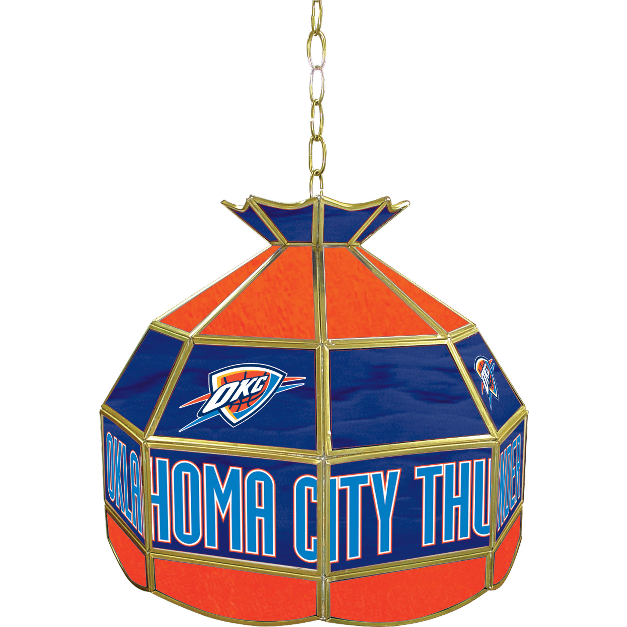Oklahoma City Thunder NBA 16 Inch Stained Glass Lamp