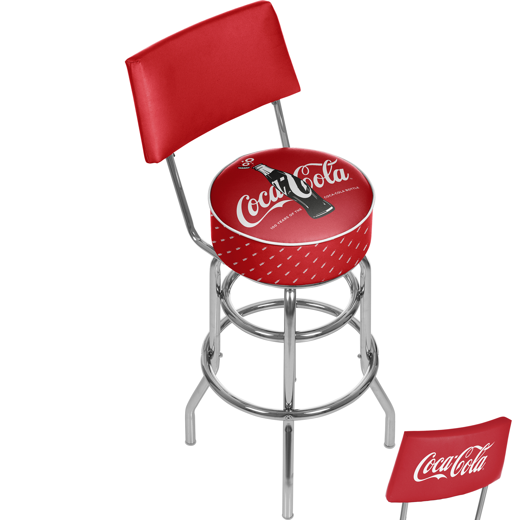Coca-Cola Stool with Back - 100th Anniversary of the Coca-Cola Bottle