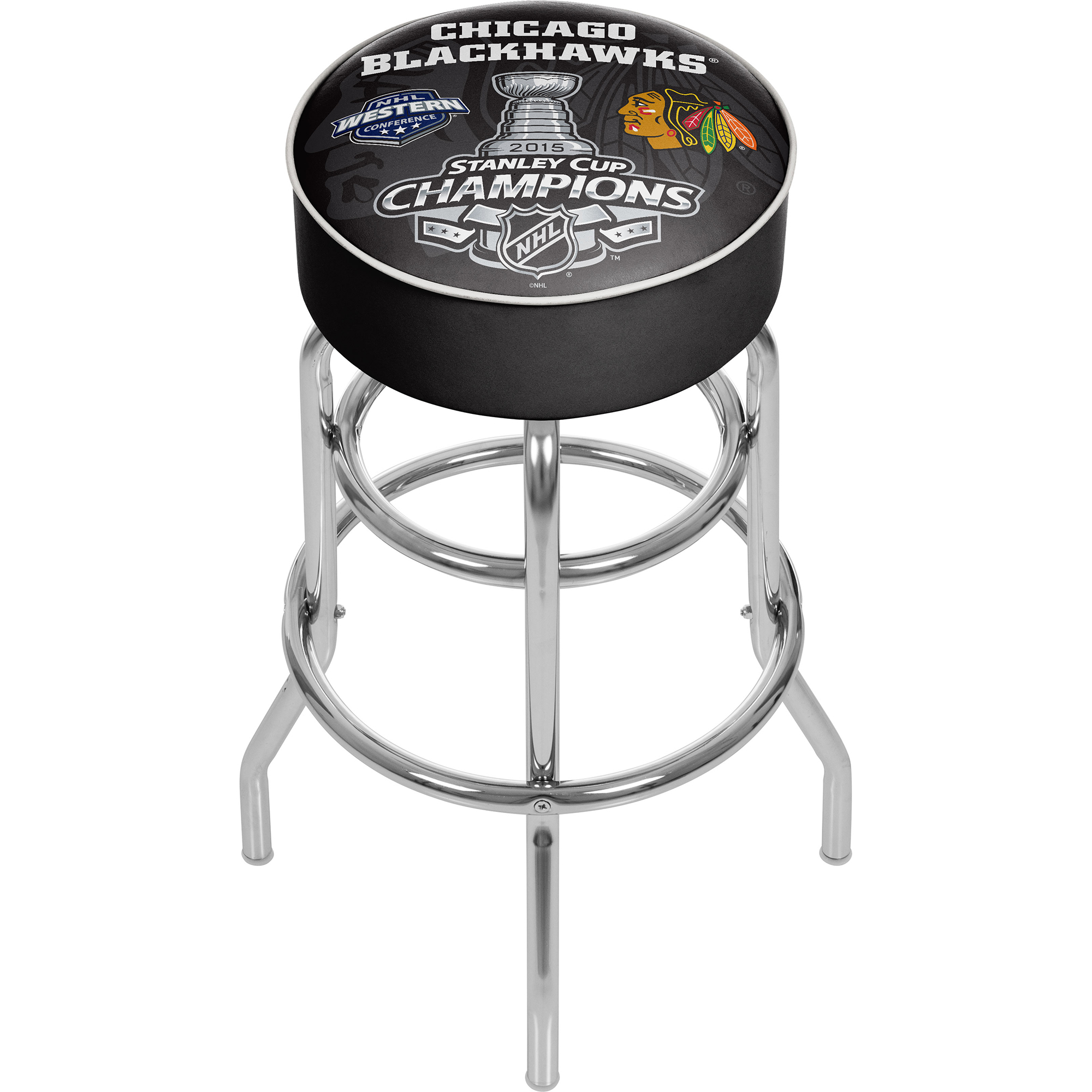 Chicago Blackhawks Swivel Bar Stool - 2015 Stanley Cup Champs 589b8beac98fc43a00165eff