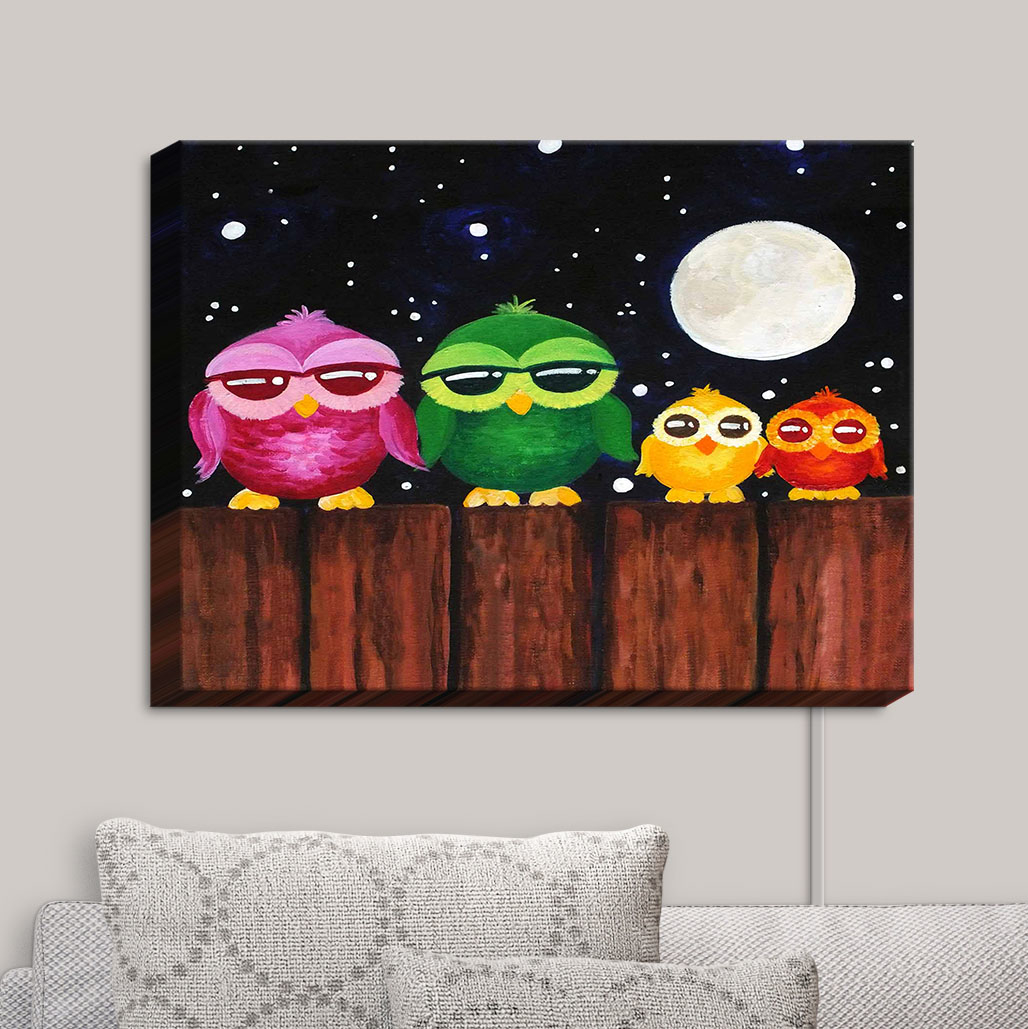 Canvas_Wall_Art_by_DiaNoche_Designs_Owls_on_a_Fence_Black_nJoy_Art