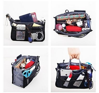 Multi-Pocket Handbag Organizer Purse Insert Liner Pouch Medium Size with Handles Many Pockets - random (YY's Store) photo