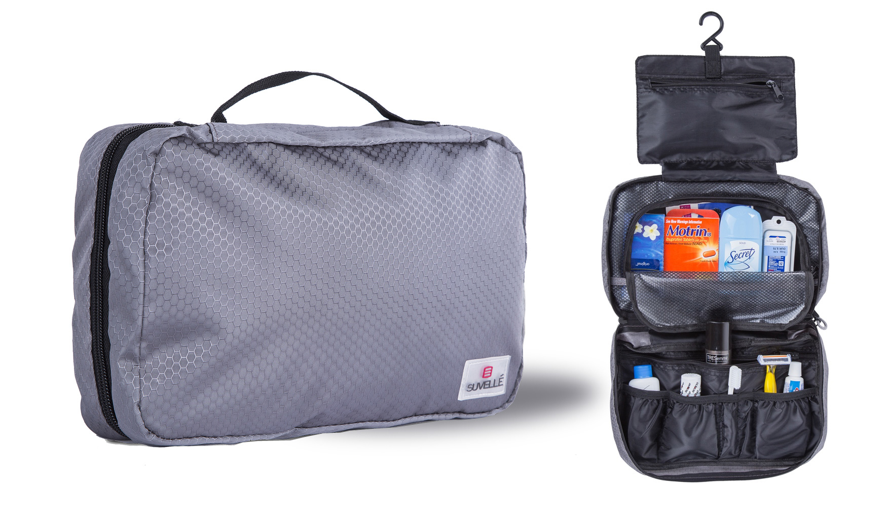Suvelle Hanging Toiletry Bag Travel Kit Organizer - Grey 577188b6923d6fda258b459c