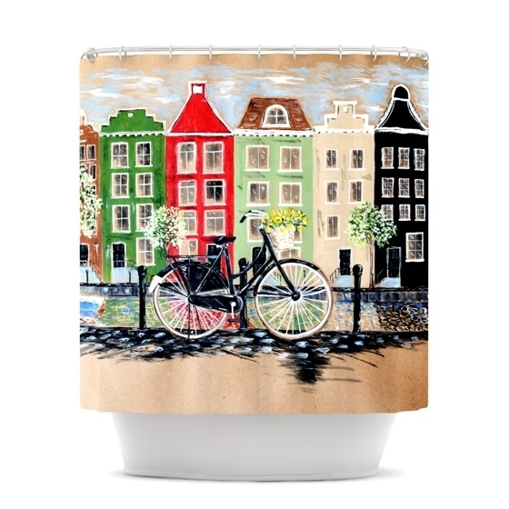 "Christen Treat ""Bicycle\"" Shower Curtain 5890ed812a00e448132a77ee"