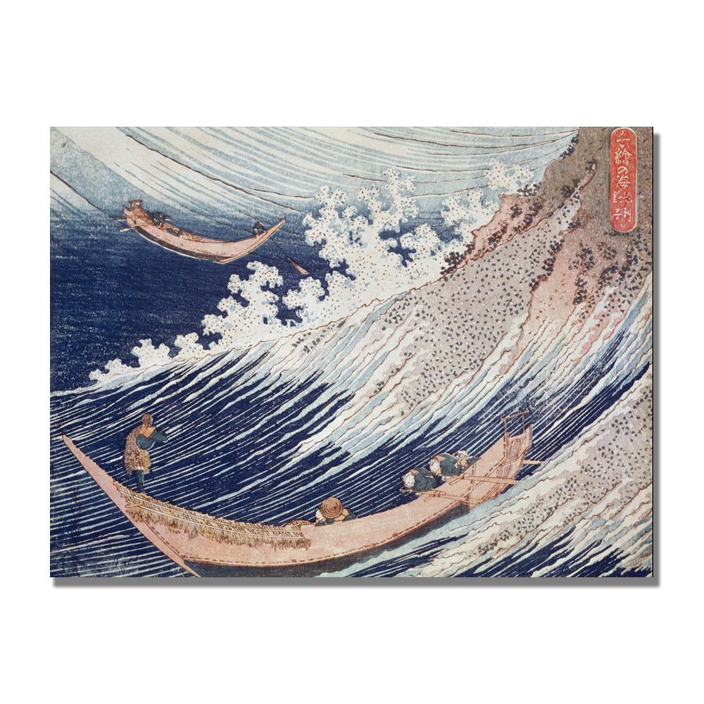 Katsushika Hokusai 'Two Small Fishing Boats' Canvas Art 18 x 24