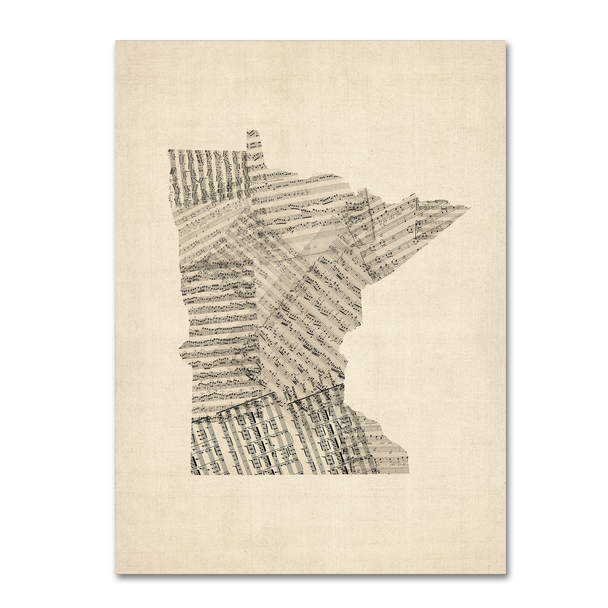 Michael Tompsett 'Old Sheet Music Map of Minnesota' Canvas Art 18 x 24
