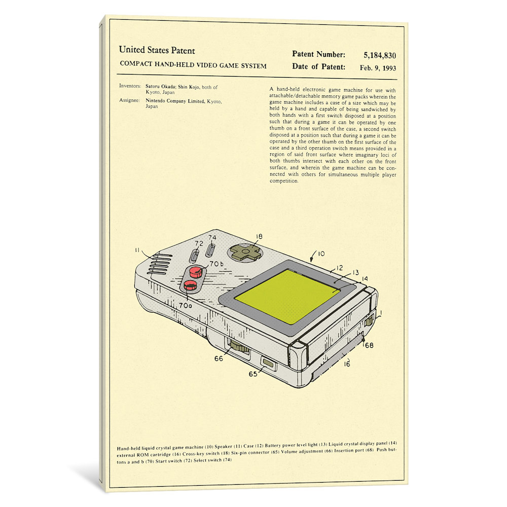 "Satoru Okada & Shin Kojo (Nintendo) Compact Hand-Held Video Game System (""Game Boy\"") Patent by Jazzberry Blue"
