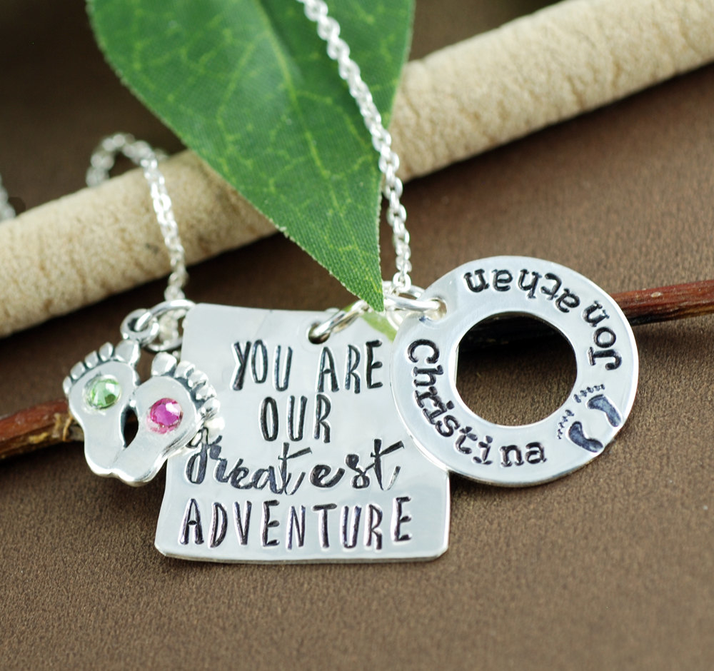 Baby Name Necklace, Birthdate Jewelry, You are our Greatest Adventure, Mothers Baby Feet Necklace, Personalized Mom Necklace, GIft for Mom